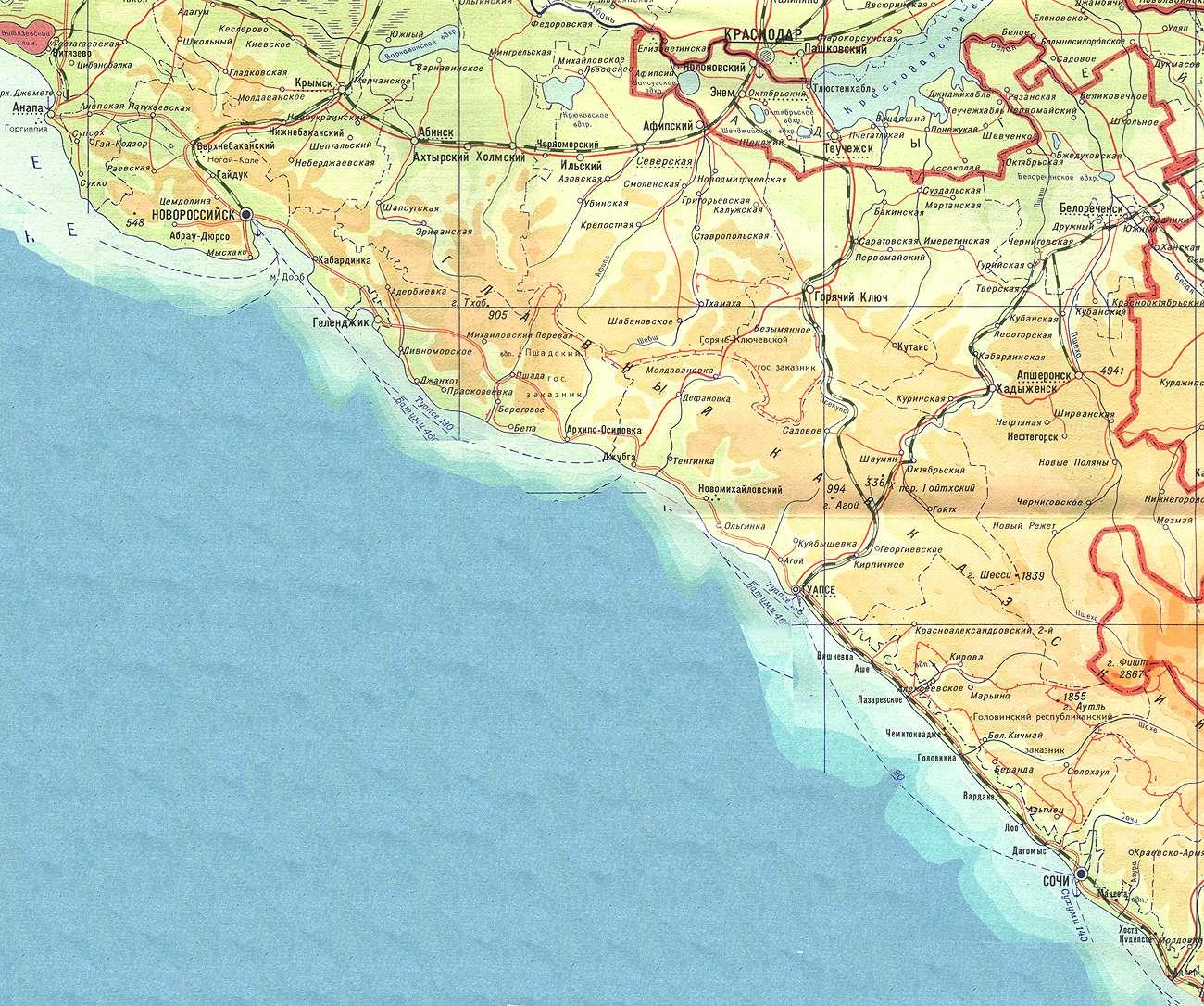 Карта побережья черного моря